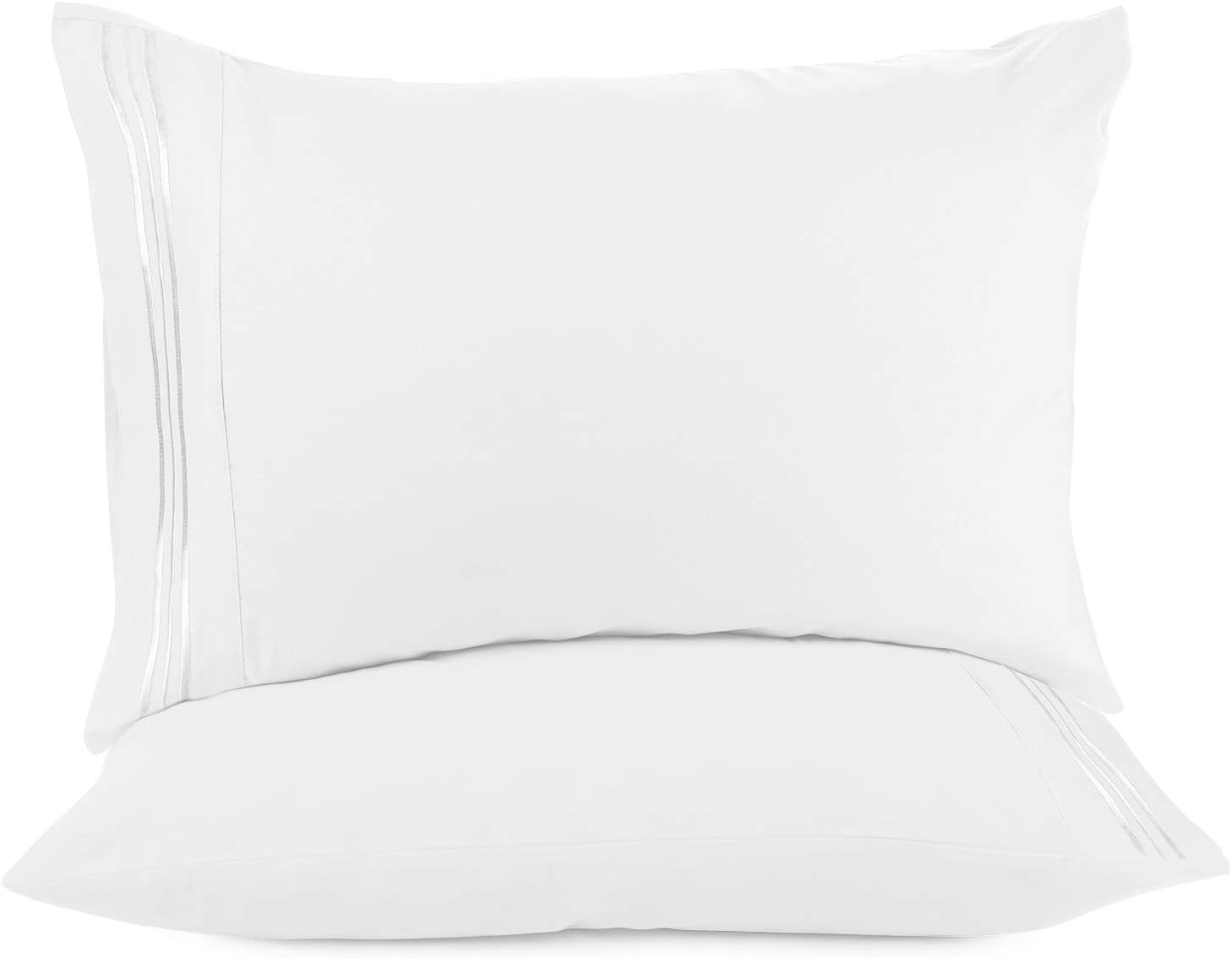 Nestl Bedding Soft Pillow Case Set of 2 - Double Brushed Microfiber Hypoallergenic Pillow Covers - 1800 Series Premium Bed Pillow Cases, King - White
