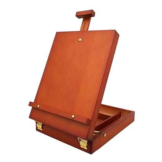 TONGSH Mesa de madera ajustable pequeña Sketchbox Easel, estuche ...