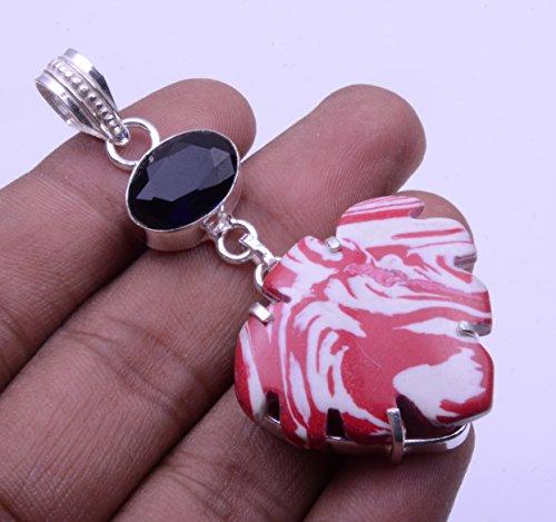Nimbark Red Mosaic Jasper with Tanzanite Quartz Handmade Jewelry Pendant 2