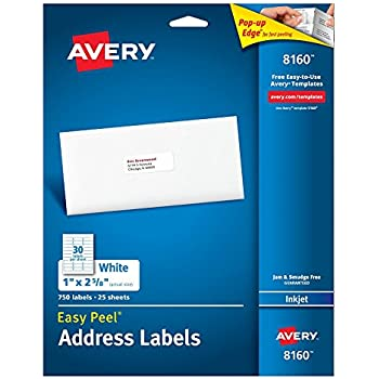 Avery Easy Peel Address KAbEs Labels for Inkjet Printers, 1 x 2.62 Inch, 750 Count (3 Pack)