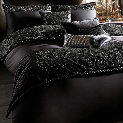 huma Luxury Sequin Duvet Quilt Cover Set,Decorative 3 Piece Bedding Set-King/Queen/Twin Comforter Cover with Button Closure and 2 Pillow Shams,Black/Silver/Gold
