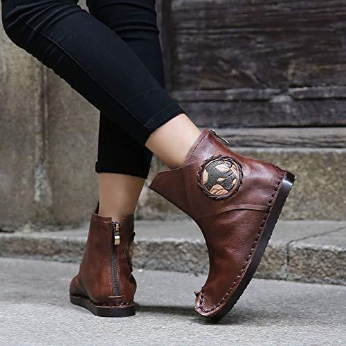 coloré glissière ZHRUI Bottes Taille Chaussures à Couture Marron EU en à 39 Femmes Cuir Plat Marron Plat Talon F7vxF