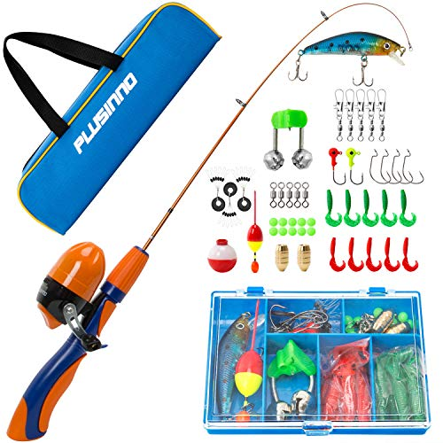 - PLUSINNO Kids Fishing Pole,Portable Telescopic Fishing Rod and Reel Full Kits, Spincast Fishing Pole for Kids, Boy, Youth (Orange Handle with Bag, 120CM 47.24IN)