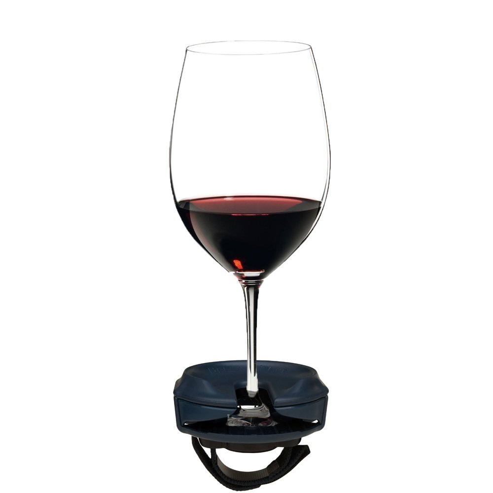 Outdoor Wine Glass Holder by Bella D'Vine for Stemmed wine glasses, Comes With a Strap Base For Chairs and Railing, Fun Wine Gift in NAVY BLUE