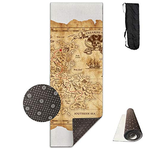 Retro Treasure Map Deluxe,Yoga Mat Aerobic Exercise Pilates Anti-Slip Gymnastics Mats