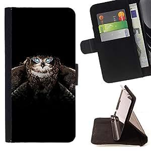 - BLACK ANIMAL OWL FLIGHT BIRD WINGS - - Prima caja de la PU billetera de cuero con ranuras para tarjetas, efectivo desmontable correa para l Funny HouseFOR Samsung Galaxy S6