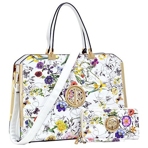 Flower Satchel Handbags (Dasein Women's Structured Designer Satchel Handbag Work Bag Shoulder Bag With Matching Wallet (2-6900 White Flower))