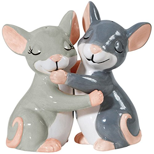 Westland Giftware Mwah! Ceramic Salt and Pepper Shaker, 3.75-Inch, Hugging Mice