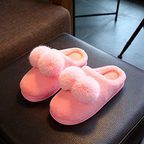 Donna Inverno Pelliccia Casa Pantofole Antiscivolo Fumetto Pom Pom Velluto In Casa Paio Pantofole Casa Zoccolo Rosa 1