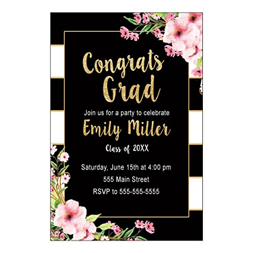 - 30 Invitations Graduation Party Black Gold Floral Personalized Cards Photo Paper