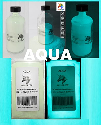 Aqua Glow in the Dark Pigment Powder (ENCAPSULATED)(0.5 Oz / 14.18 Grams, Aqua) LONGEST LASTING GLOW IN THE DARK POWDER. RECOMMENDED FOR ALL COLORLESS MEDIUM. INK. PAINT. PLASTIC RESIN. GLASS.etc