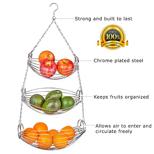 3 Tier Wire Hanging Basket Counter Vegetable Fruit