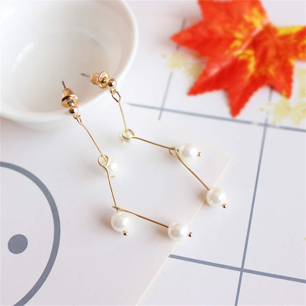 Handmade Splicing Irregular Meteor Pearl Drop Earrings for Women Girls Wedding Gift