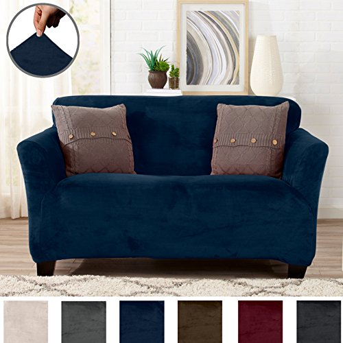 Polyester Suede Slipcover (Great Bay Home Modern Velvet Plush Strapless Slipcover. Form Fit Stretch, Stylish Furniture Cover/Protector. Gale Collection by Brand. (Loveseat, Dark Denim Blue))
