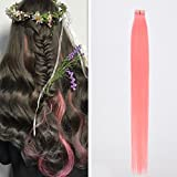 DSOAR 10 Pieces Pink Tape In PU Hair Extension 60cm/24 Inch Skin Weft Human Hair Extension,Can be Restyled