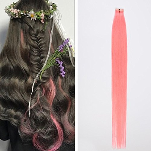 DSOAR 10 Pieces Pink Tape In PU Hair Extension 60cm/24 Inch Skin Weft Human Hair Extension,Can be Restyled by DSOAR