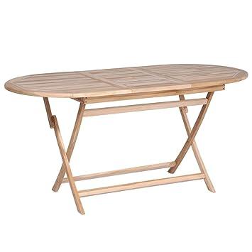 Tidyard Table Pliable de Jardin | Table d\'Extérieur | Table de Salle à  Manger | Table de Cuisine Ellipse Bois de Teck Massif 160 x 80 x 75 cm