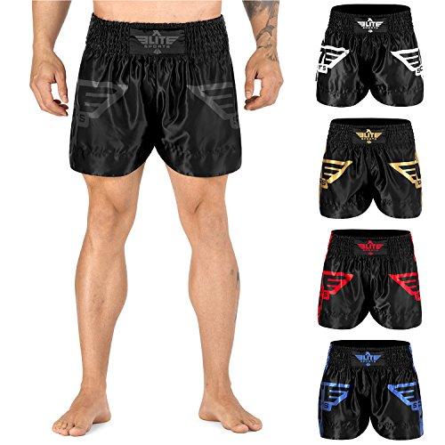 """Elite Sports Men's Advanced Muay Thai Shorts, Gray, 34"""" W"""