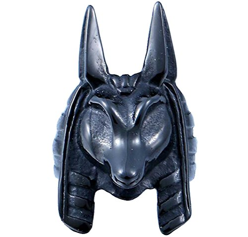 UNAPHYO Men's Stainless Steel Jackal Head Egypt God Anubis Ring Unique Vintage Style Black Size (Deaths Head Ring)