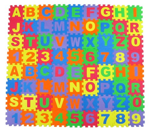 Alphabet Letters and Numbers Foam Puzzle Square Floor Mat, 6x6-Inches, 72-Pieces (Abc Floor Puzzle)