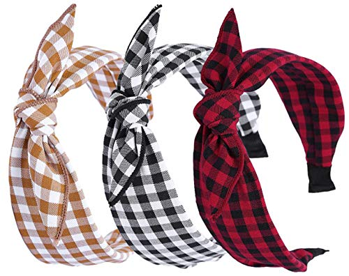 3 Pack Womens Vintage Plaid Headbands Headwraps Hair Band with Bow - Plaid Accessories