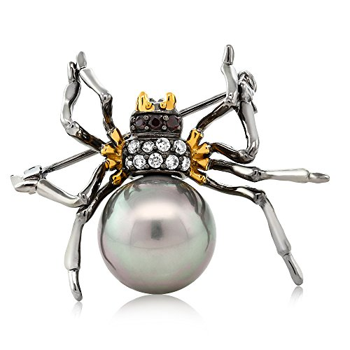 925 Sterling Silver Black&Gold Plated Simulated Shell Pearl Spider Brooch