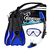 Seavenger Advanced Snorkeling Set with Panoramic Mask, Trek Fins, Dry Top Snorkel & Gear Bag (Blue, Small)