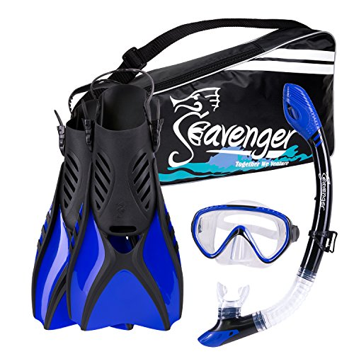 Snorkel Gear Set - Seavenger Scuba Diving Snorkeling Mask Snorkel Fin Set with Gear Bag (Blue/Small)