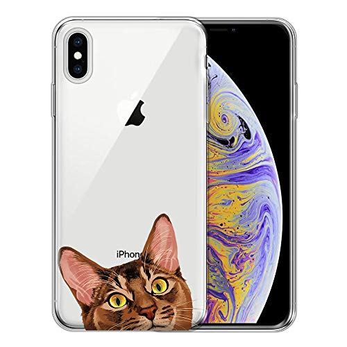 FINCIBO Case Compatible with Apple iPhone Xs Max 6.5 inch, Clear Transparent TPU Silicone Protector Case Cover Soft Gel Skin for iPhone Xs MAX (NOT FIT iPhone Xs) - Red Abyssinian Kitten Cat