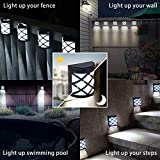 GIGALUMI 8 Pack Solar Fence Lights,6 LED Solar Deck Ligths,Waterproof Automatic Decorative Outdoor Solar Wall Lights for Deck, Patio, Stairs, Yard, Path and