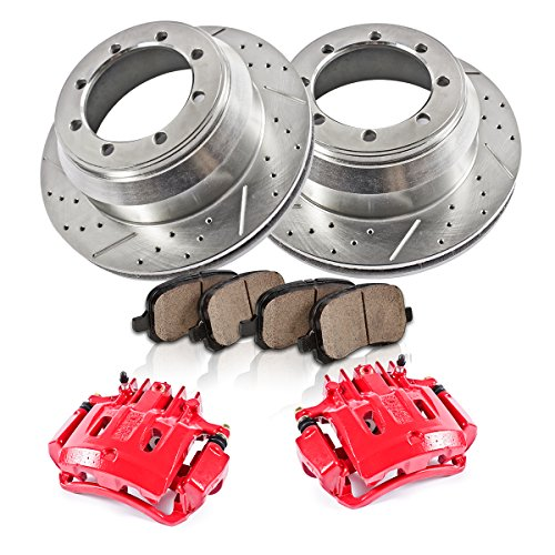 (REAR Powder Coated Red [2] Calipers + [2] 8 Lug Rotors + Quiet Low Dust [4] Ceramic Pads Performance Kit )