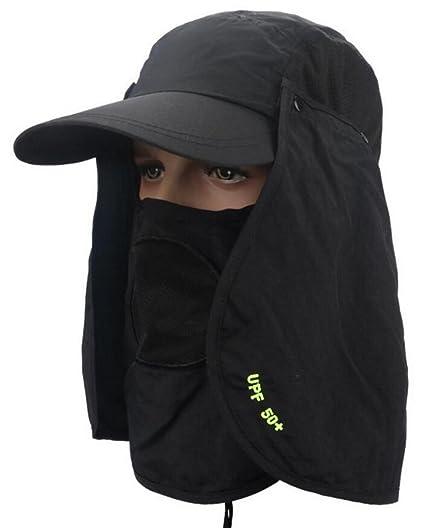 d89f1c8271202 Vocni Men Women Outdoor Summer Sun Protection Wide Brim Cap Removable Mesh  Neck Face Flap Fishing