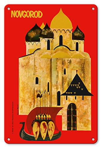 - Pacifica Island Art 8in x 12in Vintage Tin Sign - Novgorod, Russia - A Gem of Old Russian Architecture