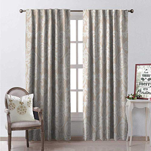 - Hengshu Cream Waterproof Window Curtain Wedding Inspired Symmetrical Design White Lace Style Background Pattern Damask Vintage Decorative Curtains for Living Room W84 x L84 Tan White