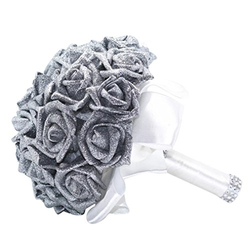YJYdada Artificial Flower, Crystal Roses Pearl Bridesmaid Wedding Bouquet Bridal Artificial Silk Flowers De(Silver)