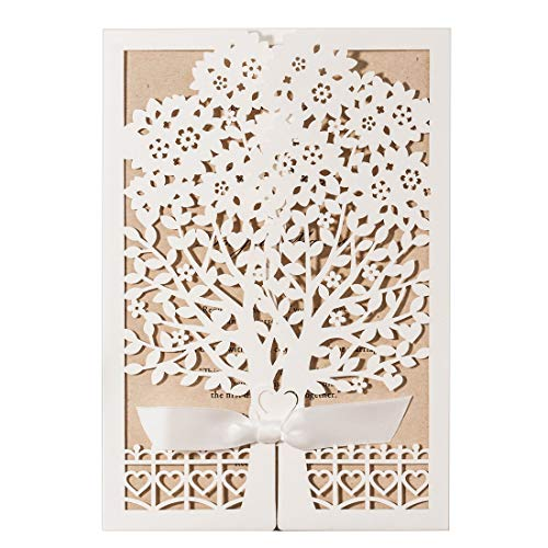 - WISHMADE Rustic Laser Cut Tree Heart Wedding Invitations Kit with Ivory Flora Pattern Invites Design Printable Kraft Paper for Engagement Baby Shower Anniversary Birthday Party (Pack of 50pcs)