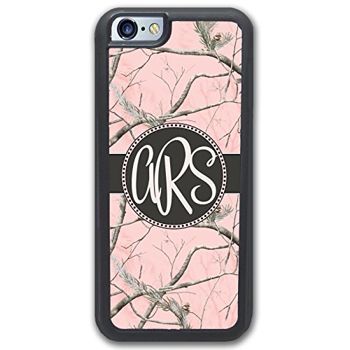 iPhone 6/6S Case Pink Camo Monogram - Monogrammed Personalized - Hard Rubber Case (4.7 inch) by Simply Customized (Pink Monogram Iphone)