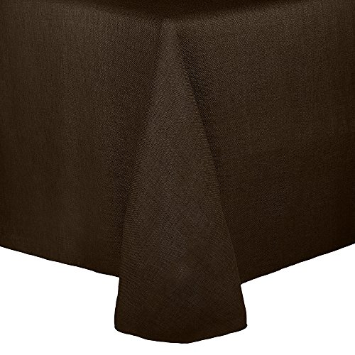 - Ultimate Textile Faux Burlap - Havana 52 x 70-Inch Oval Tablecloth - Basket Weave, Chocolate Brown