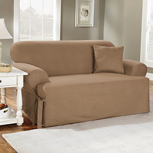 Sure Fit Duck Solid T-Cushion - Sofa Slipcover - Natural (SF28611)