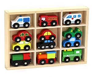 12 Pcs Wooden Train Cars & Emergency Vehicles Collection Fits Thomas, Brio, Chuggington
