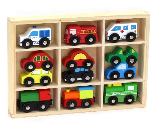 Small Wooden Cars - 12 Pcs Wooden Train Cars & Emergency Vehicles Collection Fits Thomas, Brio, Chuggington