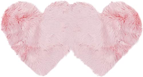 PiccoCasa Double Heart Shaped Soft Faux Sheepskin Fur Plush Area Rug