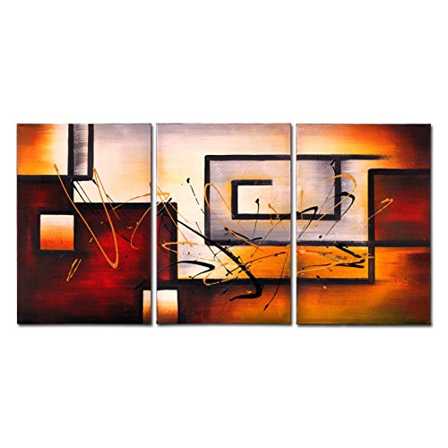 [VASTING ART Hand Painted Modern Abtract Framed Canvas Wall Art Oil Paintings Geometry Line Ready to Hang for Living Room Wall Decor] (Modern Art Deco)