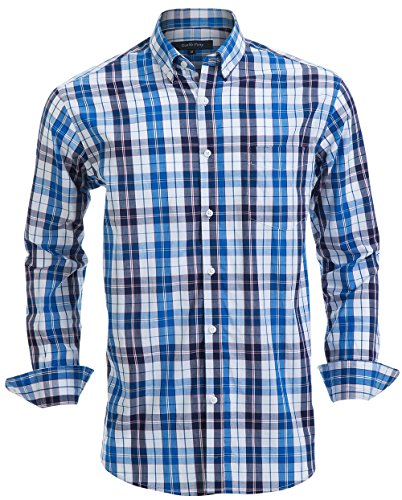 (Double Pump Mens Button Down Shirts 100% Cotton Long Sleeve Shirts Regular Fit (SL01A,M) )