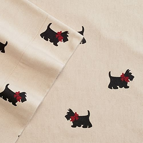 Cuddl Duds Scotties Queen Flannel Sheet Set