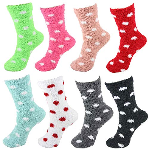 - Super Soft Comfy Cozy Fun Fluffy Furry Plush Warm Fuzzy Home Slipper Cute Polka Dot Socks - 8C - 8 Pair Value Pack