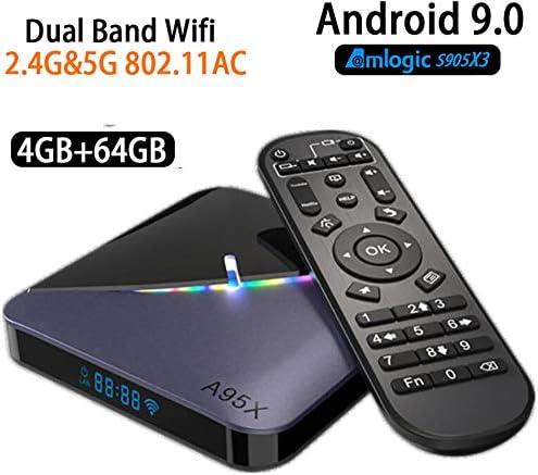 Android 9.0 TV Box Box 4 GB 64 GB de Smart TV 4K Android Amlogic S905X3 HDMI 2.1 / H265 VP9 decodificación / 2.4G 5.0G 100M WiFi LAN / BT4.2 / USB3.0 Box/Android: Amazon.es: Hogar
