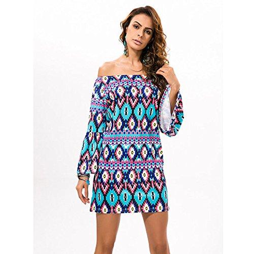 Barra De Ropa Cuello Playa Mujeres De Imprimir Vestido Color 07 XINGMU Hombro Inclinada Verano HWgzYcdnd