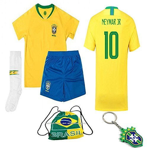 Brazil National Team Neymar Soccer Jersey Kit : Shirt, Short, Socks, Bag 2 to 13 Years Old (Neymar Yellow, Size 26 (9-10 Yrs Old Approx.))