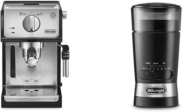 Delonghi ECP35.31 - Cafetera espresso, 1100 W, capacidad 1.1 l, café molido y monodosis para 2 tazas, negro y plata + DeLonghi KG210 - Molinillo de Café: Amazon.es: Hogar